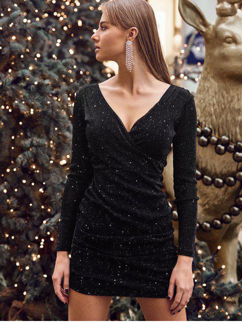 Vestido Brillante Ajustado Acanalado - Negro M Mobile