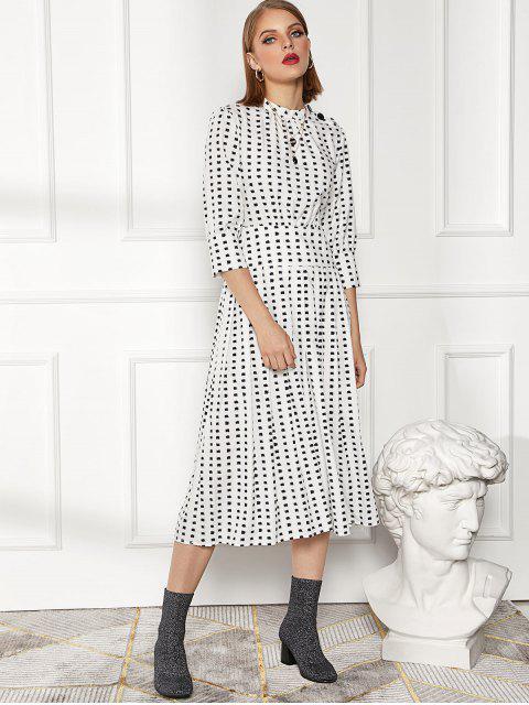 women's Button Crew Neck Printed Tea Length Dress - MULTI-A L Mobile