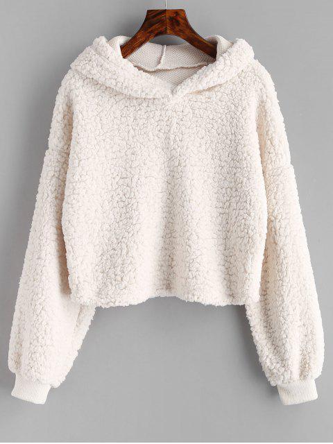 latest Loose Fit Faux Fur Hoodie - BEIGE S Mobile