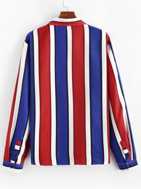 women Vertical Striped Long Sleeve Lounge Shirt - RED XS Mobile