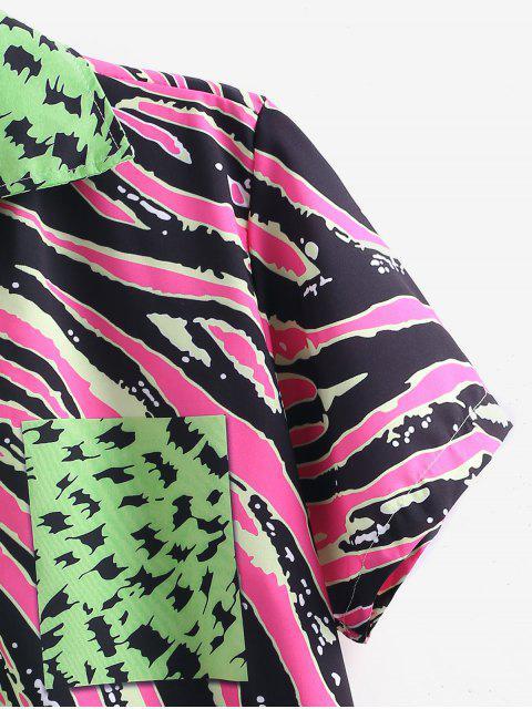 Lässige Gespleißter Gedrucktes Knopf Hemd - Grün M Mobile