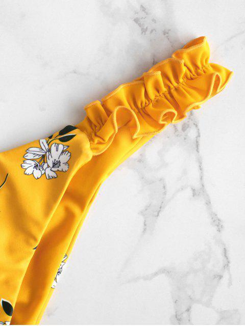 ZAFUL Blumen Hochgeschnittener Salat Scrunch Butt Bikini Unterteile - Gelb S Mobile