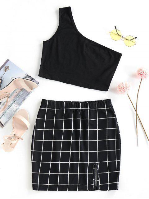 trendy ZAFUL One Shoulder  Grid Two Piece Dress - BLACK M Mobile