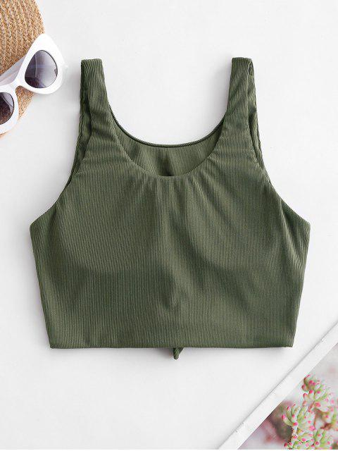 womens ZAFUL Ribbed Knotted Tank Bikini Top - ARMY GREEN XL Mobile