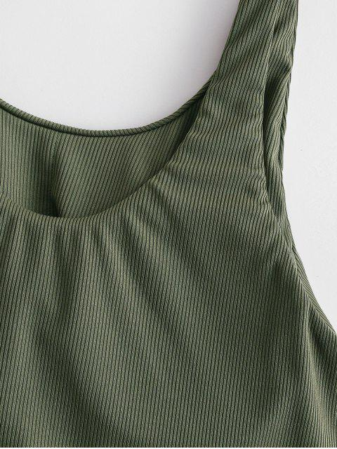 women's ZAFUL Ribbed Knotted Tank Bikini Top - ARMY GREEN 2XL Mobile