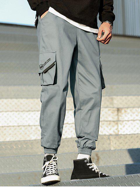 Joggers de Carga de Parche con Bolsillo y Estampado de Letras - Gris Pizarra Claro XS Mobile