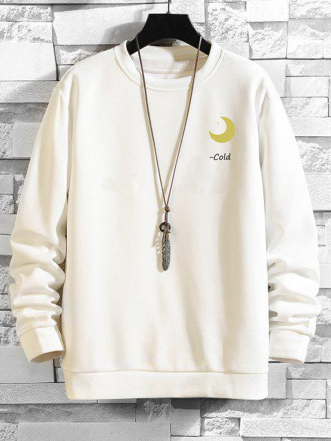 Mond Buchstabe Grafik Rundhalsausschnitt Sweatshirt - Weiß XL Mobile