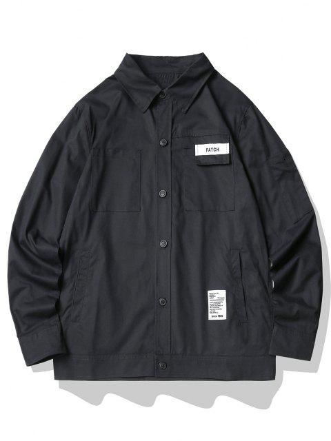 文字柄マルチカーゴシャツポケット - ブラック 2XL Mobile