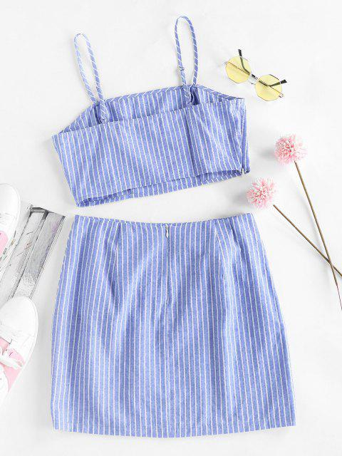 women ZAFUL Striped Tied Mini Bodycon Skirt Set - SKY BLUE S Mobile