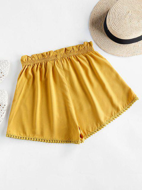 latest ZAFUL Crochet Trim Frilled Tie Shorts - GOLDENROD S Mobile