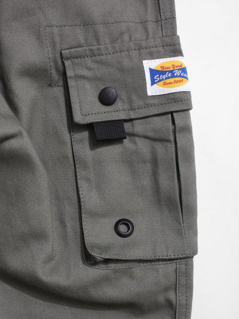 Jogger Pantalones Casual con Estampado de Bolsillo - Turquesa Gris XS Mobile