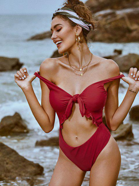 unique ZAFUL Knot Ruffle Cutout One-piece Swimsuit - RED S Mobile