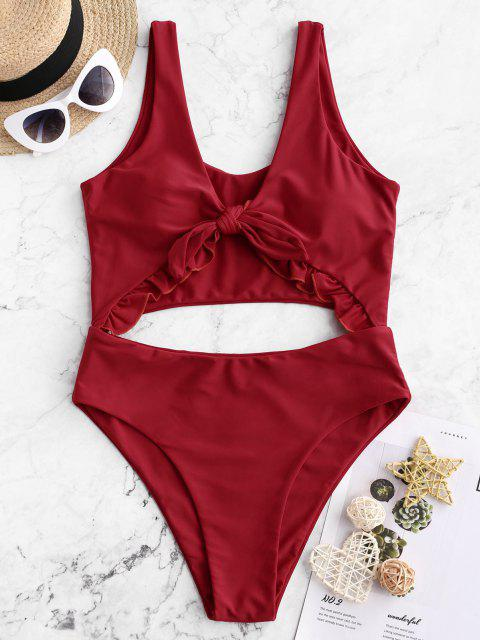 unique ZAFUL Knot Ruffle Cutout One-piece Swimsuit - RED L Mobile