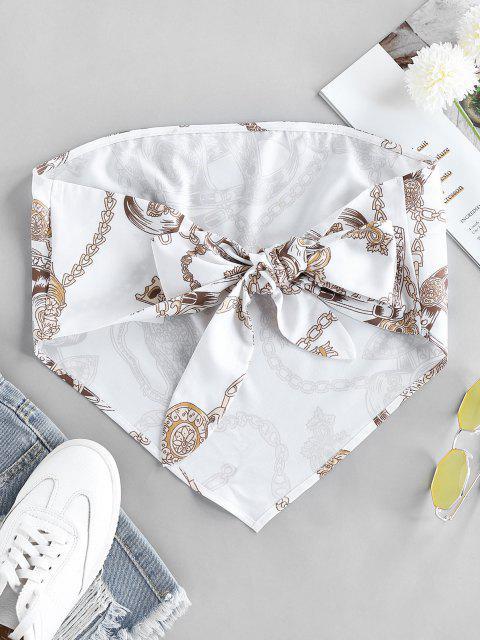 shops ZAFUL 3D Chain Print Strapless Bandana Top - WHITE L Mobile