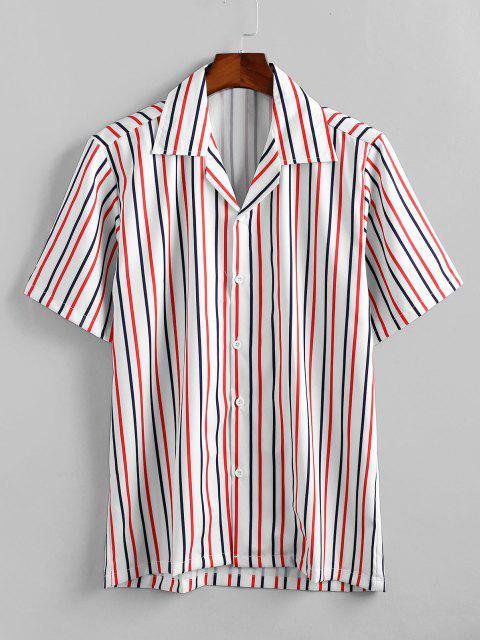 Striped Printed Freizeit-Knopf-Hemd - Weiß 2XL Mobile