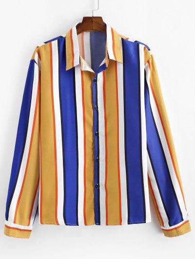 Vertical Striped Long Sleeve Lounge Shirt - Yellow M