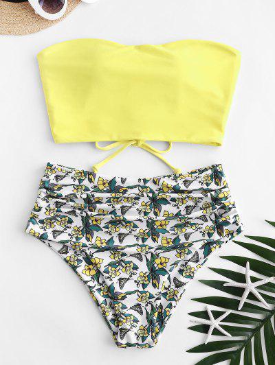 ZAFUL Lace Up Floral Bandeau High Waisted Tankini Swimwear - Yellow L