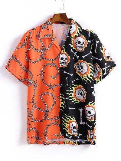 Skull Spliced Printed Button Shirt - Papaya Orange L