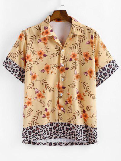 Camisa Casual Floral Con Estampado De Leopardo - Blanco Almendra L