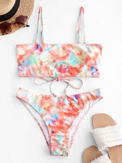 ZAFUL Tie Dye Lace Up Tube Bikini Swimwear - Multi-a M