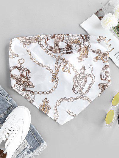 ZAFUL 3D Chain Print Strapless Bandana Top - White L