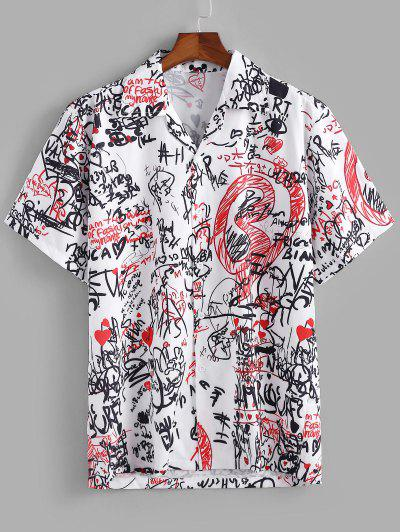 Graphic Pattern Short Sleeves Shirt - White M