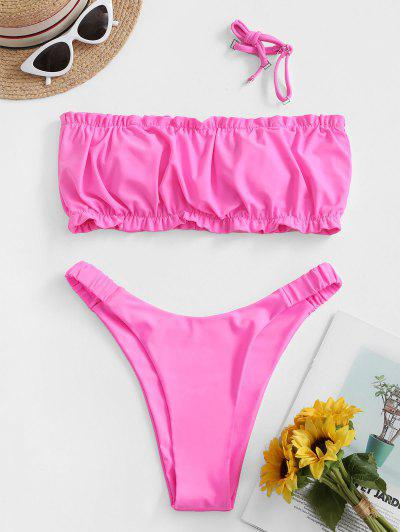 ZAFUL Ruched Elasticated Straps Bandeau Bikini Set - Hot Pink S