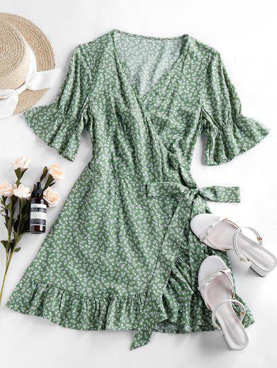 ZAFUL Ditsy Print Poet Sleeve Flippy Hem Dress - Light Green S