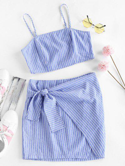 ZAFUL Striped Tied Mini Bodycon Skirt Set - Sky Blue M
