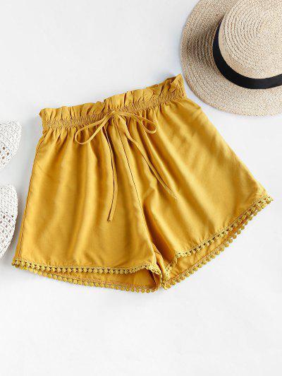 ZAFUL Crochet Trim Frilled Tie Shorts - Goldenrod S