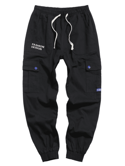 Leisure Letter Pattern Pocket Jogger Pants