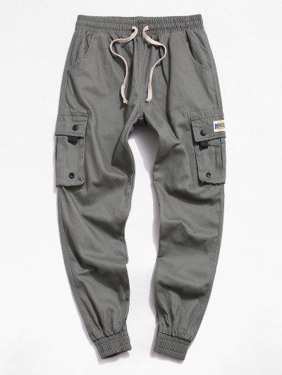 Casual Graphic Pattern Pocket Jogger Pants - Grayish Turquoise Xs