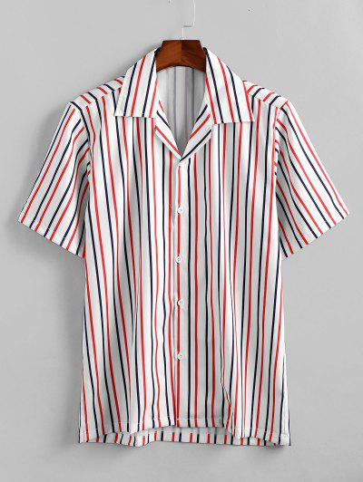 Striped Printed Leisure Button Shirt - White M