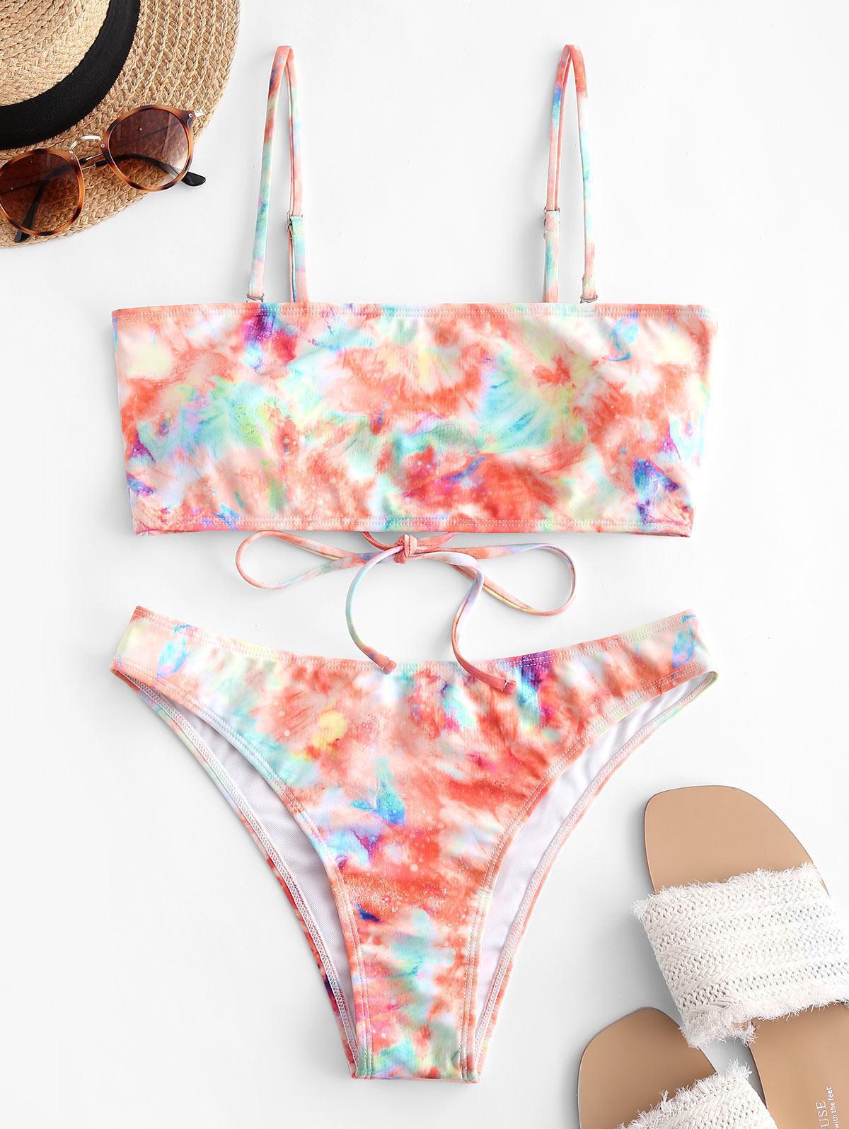 ZAFUL Tie Dye Lace Up Tube Bikini Swimwear thumbnail