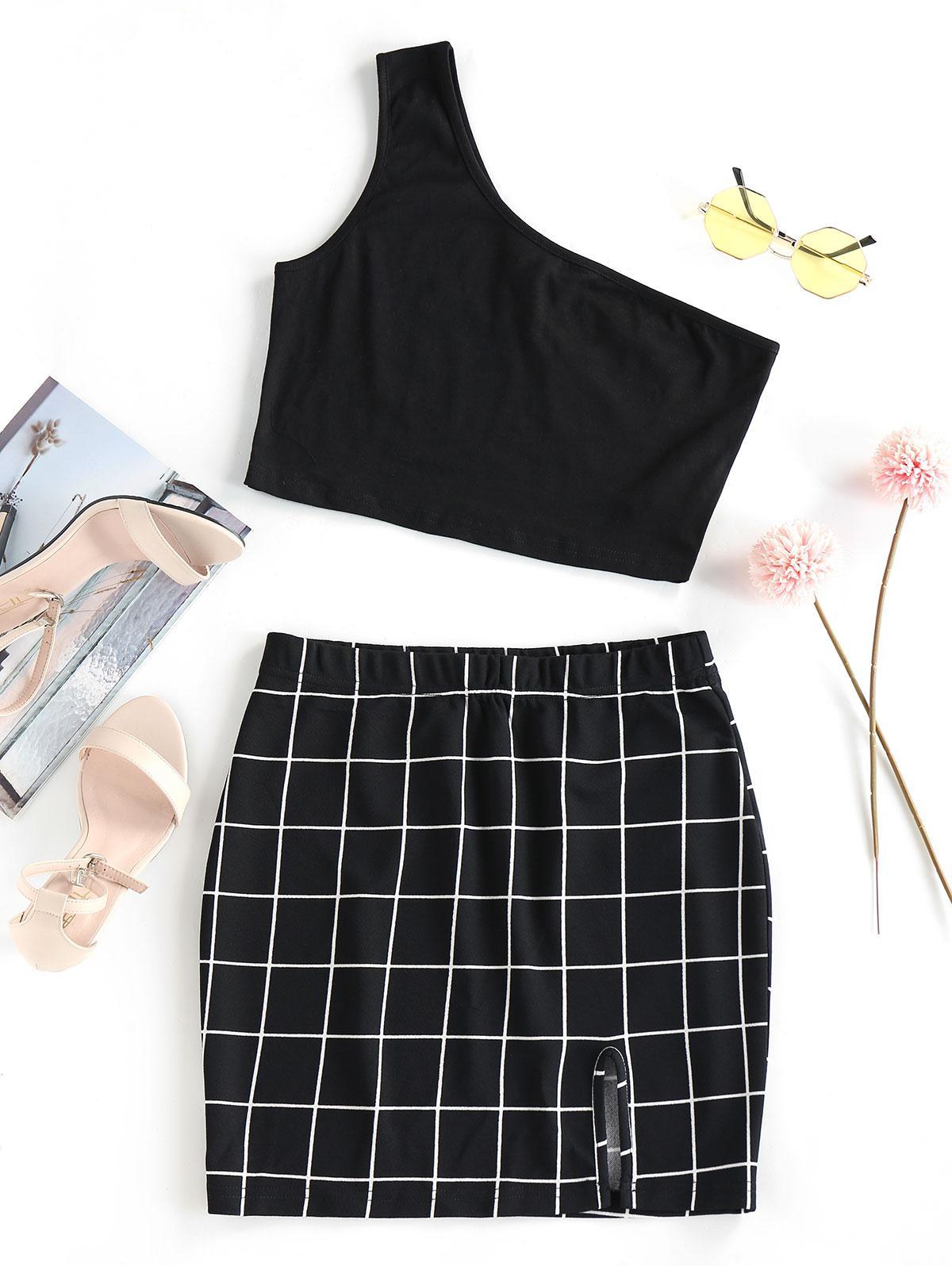 ZAFUL One Shoulder  Grid Two Piece Dress