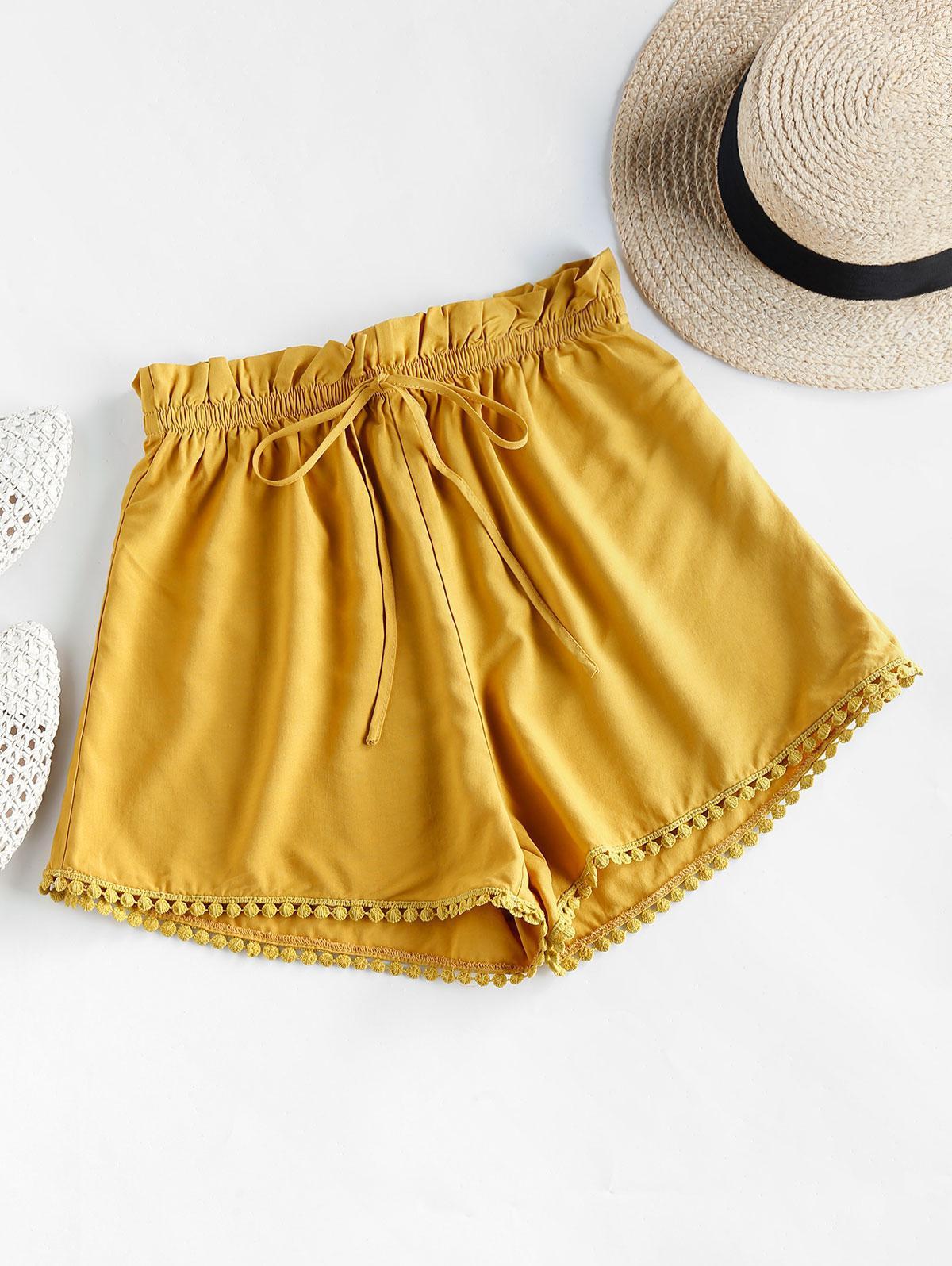 ZAFUL Crochet Trim Frilled Tie Shorts