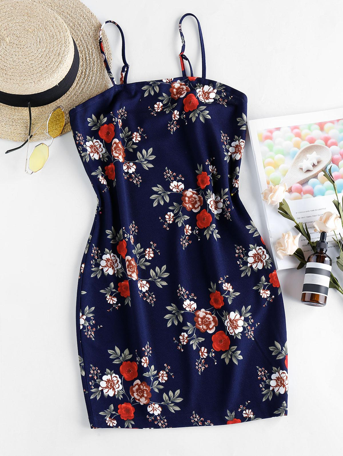 ZAFUL Floral Print Mini Bodycon Dress
