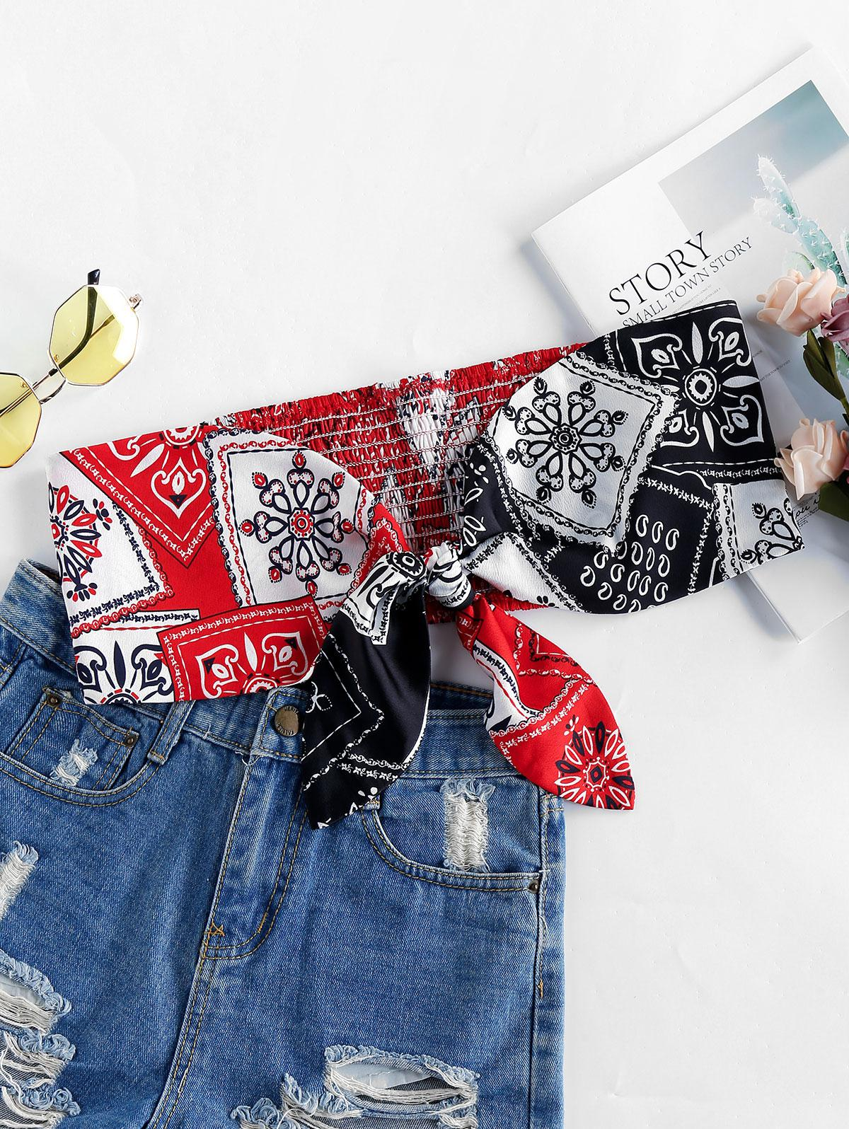 ZAFUL Tie Knot Printed Bandeau Tube Top