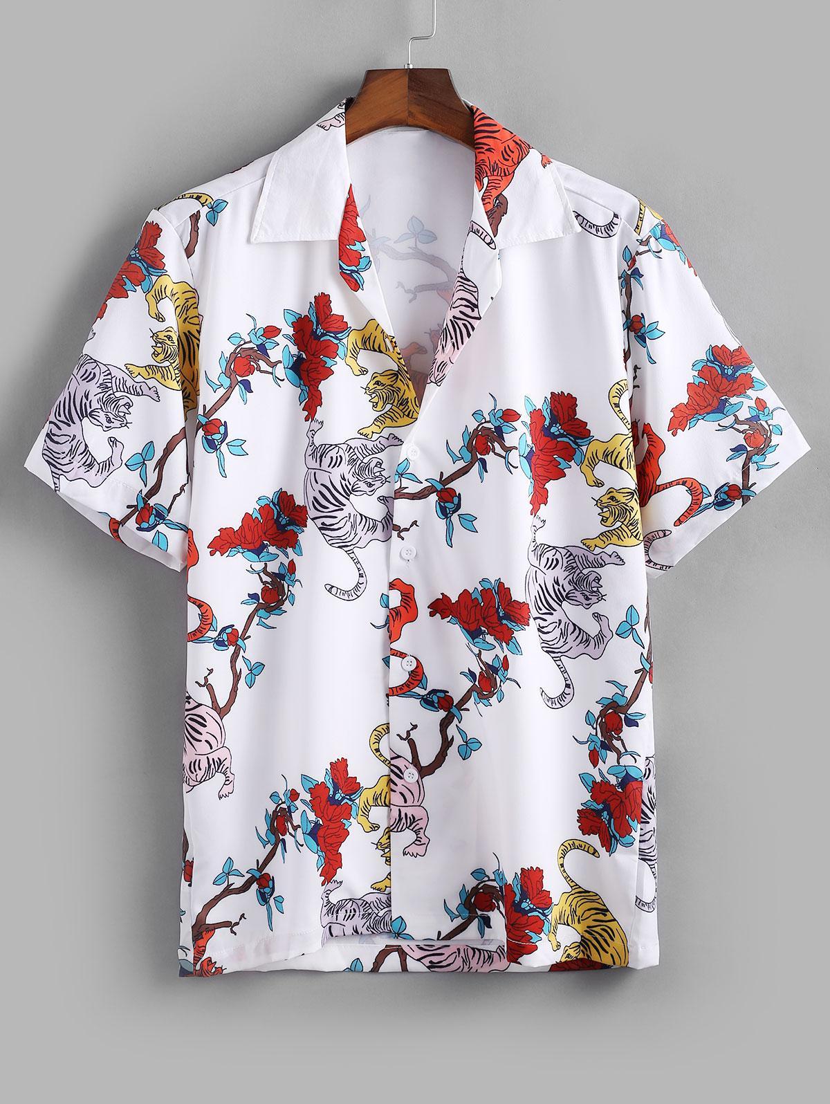 Tiger Flower Print Casual Shirt thumbnail