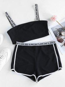 Letter Print Trim Short Set