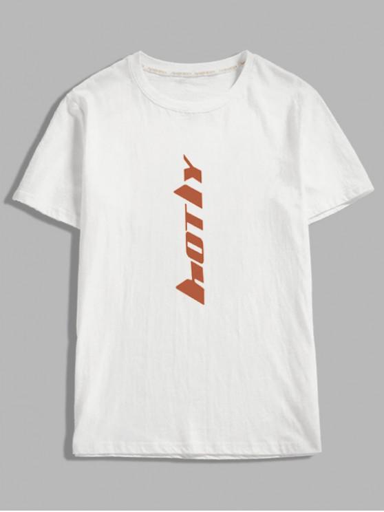 ladies Short Sleeve Letter Print T-shirt - WHITE XL