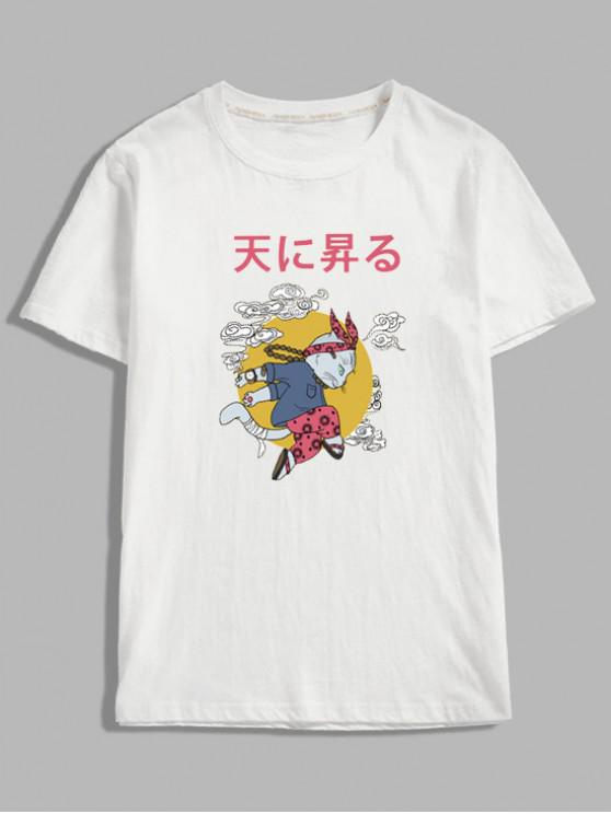 womens Cartoon Cat Oriental Letter Graphic T-shirt - WHITE XL