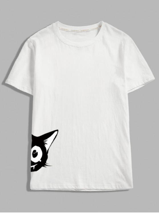 latest Short Sleeve Cartoon Animal Print T-shirt - WHITE XL