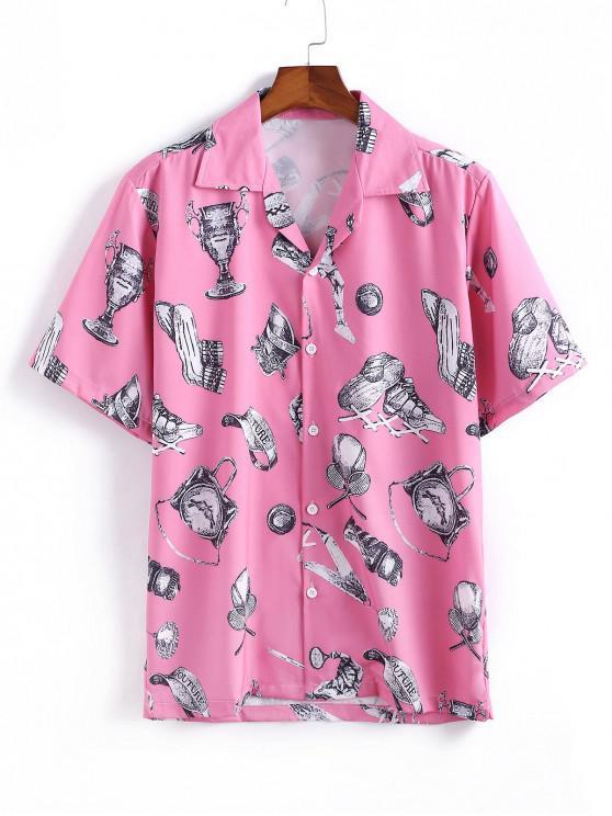 Camisa Manga Larga Patrón Tennis - Rosado 2XL