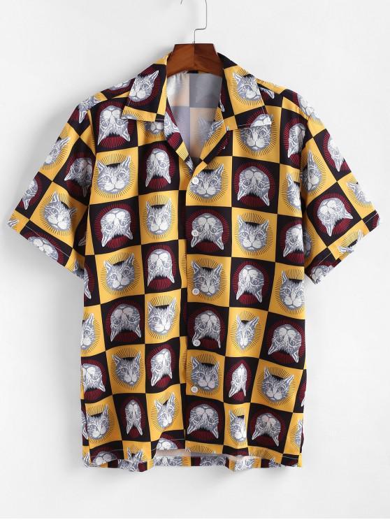 Camisa Casual con Estampado de Gato - Amarillo M