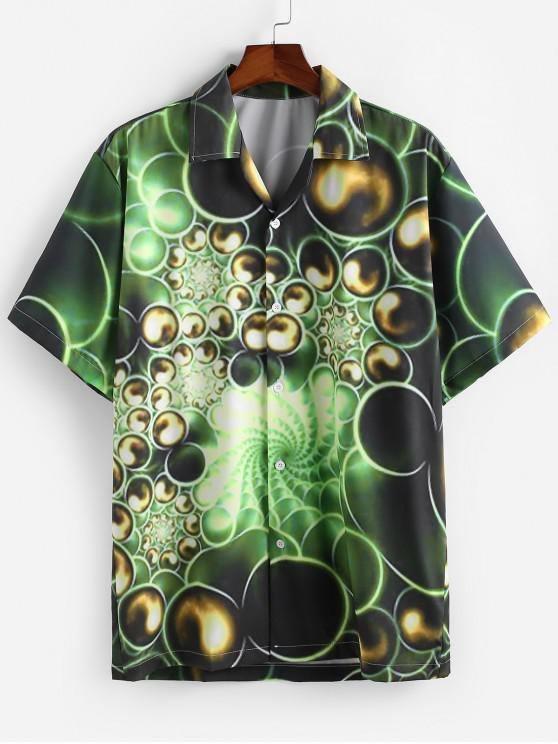Camisa Casual de Manga Corta con Estampado de Pintura - Verde Alga S