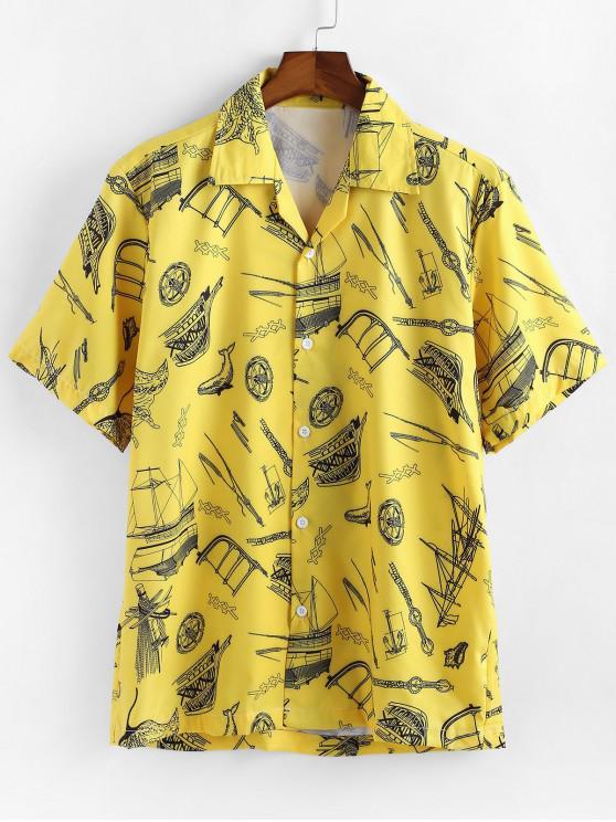 hot Boat Print Short Sleeves Shirt - YELLOW 2XL