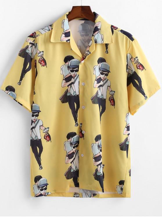 shops Cartoon Character Printed Short Sleeves Shirt - YELLOW M