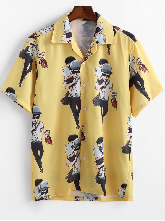 fashion Cartoon Character Printed Short Sleeves Shirt - YELLOW 2XL