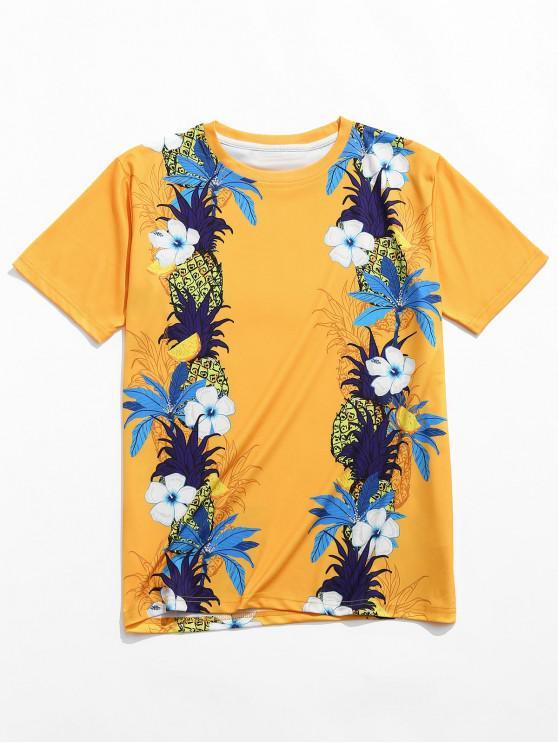 Camiseta Casual con Estampado Floral de Manga Corta - Amarilla de Abeja  XL